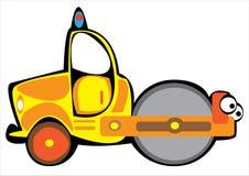 Compactor асфальта шаржа желтый изолированный на whit Стоковое Изображение