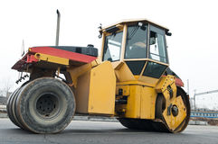Compactor at asphalt pavement works Stock Images