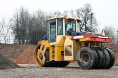 Compactor at asphalt pavement works Stock Image