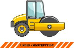 Compactor. Heavy construction machine. Vector Stock Images