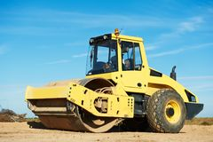 Compactor at road compaction works Royalty Free Stock Image
