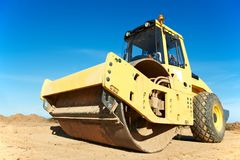 Compactor at road compaction works Royalty Free Stock Images