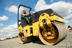 Compactor roller at road work Stock Image
