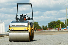 Compactor roller at road work Royalty Free Stock Image