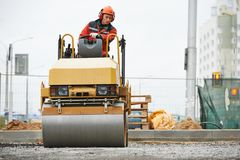 Compactor roller at road work Stock Photos
