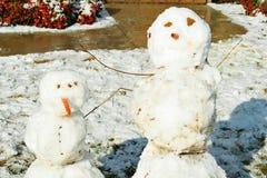 Compagni del pupazzo di neve Fotografia Stock Libera da Diritti