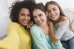 Compagni di camera felici che prendono selfie, divertendosi a casa immagine stock libera da diritti