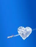 Compagnie aérienne de cupidon. L'amour est dans le ciel Photographie stock