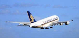 compagnies aériennes Singapour d'a380 Airbus Images libres de droits