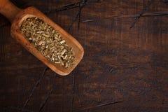 Compagno con il mestolo su fondo di legno fotografia stock libera da diritti