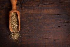 Compagno con il mestolo su fondo di legno immagine stock