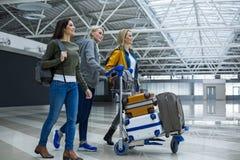 Compagnons appréciés portant le bagage sur le chariot à aéroport Image libre de droits