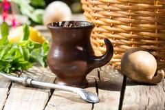 Companheiro da erva - chá tradicional na América Latina Fotos de Stock Royalty Free