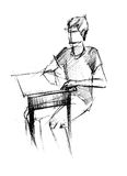 Companheiro em uma camisa de esporte na tabela ilustração do vetor