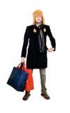 Companheiro novo com sacos grandes Imagem de Stock Royalty Free