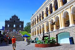 Heritage Building At The Companhia de Jesus Square, Macau, China Royalty Free Stock Photos