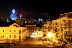 The Companhia de Jesus Square At Night, Macau, China Royalty Free Stock Images