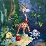 Companhia doce do Giraffe e do cão Imagem de Stock Royalty Free