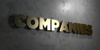 Companies - Gold sign mounted on glossy marble wall  - 3D rendered royalty free stock illustration. This image can be used for an online website banner ad or a Royalty Free Stock Image