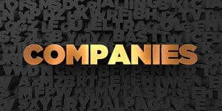Companies - Gold text on black background - 3D rendered royalty free stock picture. This image can be used for an online website banner ad or a print postcard Stock Photo