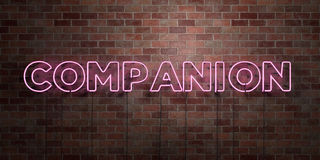 COMPANION - fluorescent Neon tube Sign on brickwork - Front view - 3D rendered royalty free stock picture Royalty Free Stock Photo