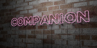 COMPANION - Glowing Neon Sign on stonework wall - 3D rendered royalty free stock illustration Royalty Free Stock Photography