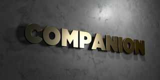 Companion - Gold text on black background - 3D rendered royalty free stock picture Stock Photography