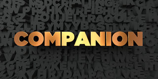 Companion - Gold text on black background - 3D rendered royalty free stock picture Royalty Free Stock Photo