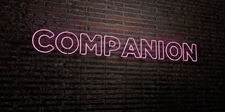 COMPANION -Realistic Neon Sign on Brick Wall background - 3D rendered royalty free stock image Royalty Free Stock Image