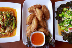 3 companion. Thai food is served on the table royalty free stock photo