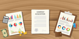 Company acquisition concept illustration with paperwork document on table. Company acquisition concept illustration with paperwork document on table with graph Stock Image
