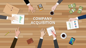Company acquisition illustration team work together to merge Stock Images