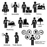 Company Business Assets Pictogram Clipart. Human pictogram and icons depicting all assets that a company has stock illustration