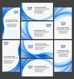 Company business cards high quality collection. Clean business cards high quality collection - White and blue colors - creative templates Stock Photos