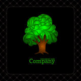 Company business icon with laced green tree. Company business icon with lace ornamental green tree Royalty Free Stock Images