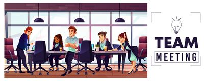 Company business team working in office vector royalty free illustration