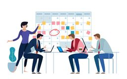 Company business team working together planning and scheduling their operations agenda on a big spring desk calendar. Drawing circle mark and sticky notes royalty free illustration