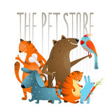 Company of Cartoon Domestic Animals Royalty Free Stock Photos