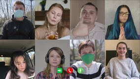 Company of Caucasian people chatting online. Multiscreen of eight cheerful men and women in and without face masks