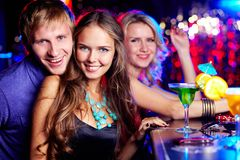 Company of clubbers Stock Photos