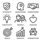 Company Core Values Outline Icons Stock Images