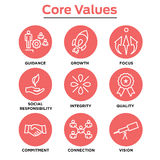 Company Core Values Outline Icons for Websites or Infographics. Red Stock Image