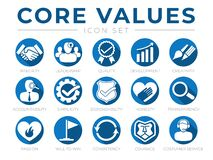 Free Company Core Values Round Web Icon Set. Integrity, Leadership, Quality And Development, Creativity, Accountability, Simplicity, Stock Photo - 186370330