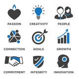 Company Core Values Solid Icons for Websites or Infographics Royalty Free Stock Photography