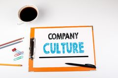 Company Culture, business background. Office desk with stationery.  royalty free stock photo