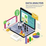 Company Data Analysis isometric Illustration. This is Teamwork, analyze company data with graph tables, with today`s technology vector illustration