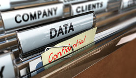 Company Data Protection. Close up on a file tab with the word data and confidential, focus on the main text and blur effect. Concept image for illustration of Stock Photos