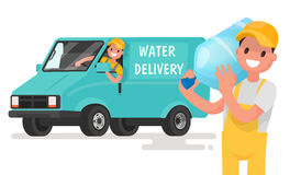 Company for the delivery of drinking clean water. A man with a b Stock Photo