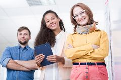 Company director and two interns Stock Image