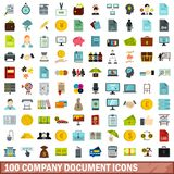 100 company document icons set, flat style. 100 company document icons set in flat style for any design vector illustration Royalty Free Illustration